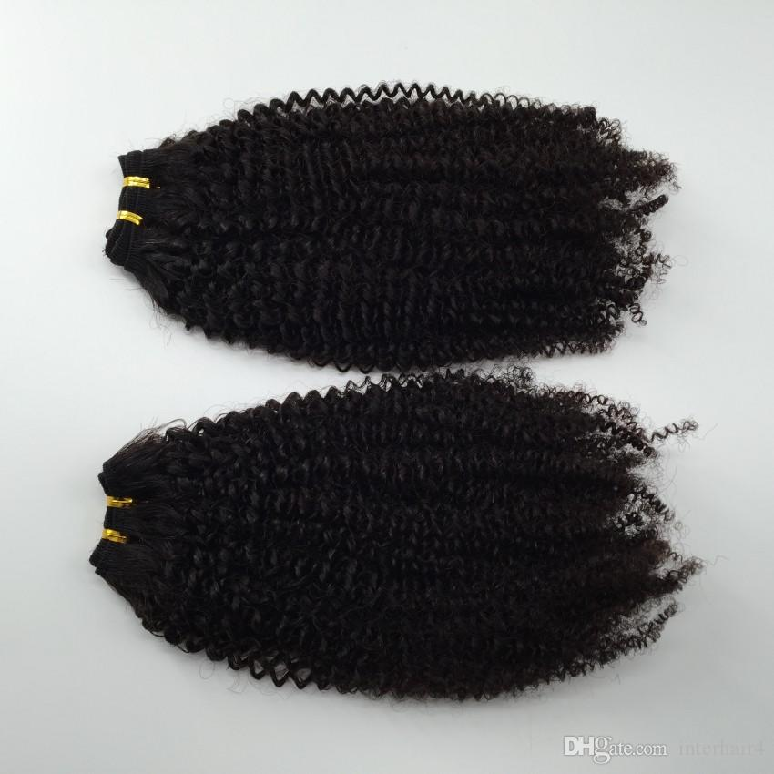 Cheap Peruvian Brazilian Hair Wefts Afro Kinky Curly Hair Weaves Human Hair Extension 2Bundles Fast