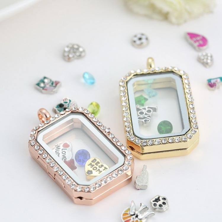 Charm memory locket floating rectangle locket with diamonds of charm memory locket floating rectangle locket with diamonds of high quality transparent glass photo frames floating charm lockets pendants rectangle locket mozeypictures Images