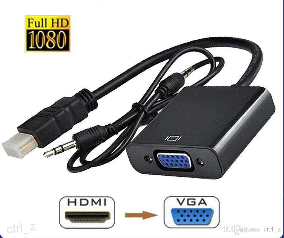 HDMI VGA Adaptörü + 3.5mm AUX Ses Kablosu HDTV Video Dönüştürücü Adaptör PC Laptop Xbox Dijital Kamera için