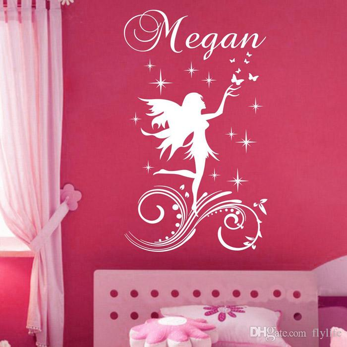 Customer Made A Fairy Little Angel Cartoon Wall Sticker Personalised Any  Name Girls Wall Decal For Kids Room Decor Kids Wall Stickers Removable  Kitchen Wall ...