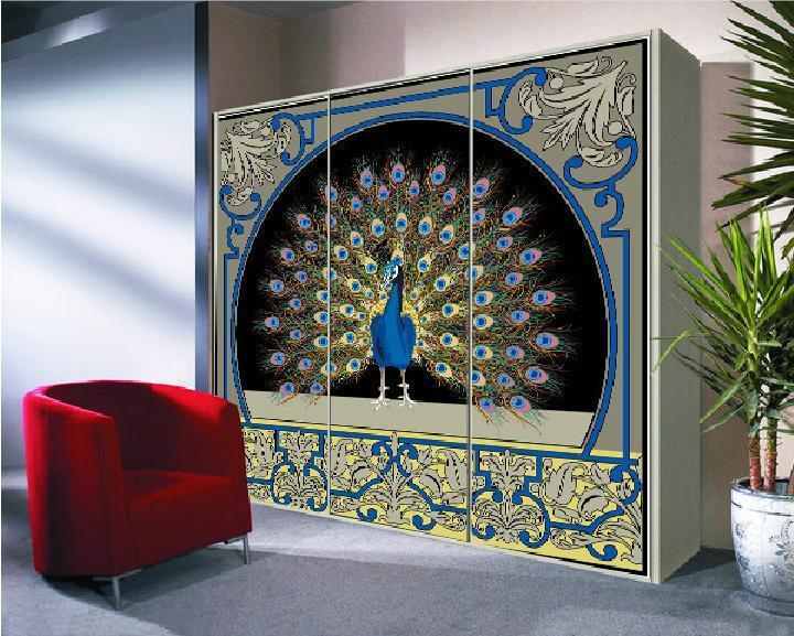 Peacock Glass Door Paster Doors And Windows Color Paper Grind
