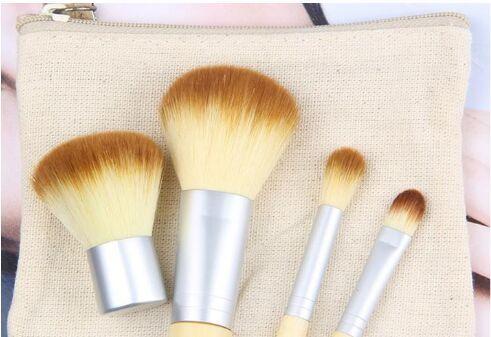 4 Unids Set Kit de pinceles de maquillaje de madera Hermosa Profesional de bambú Elaborado pincel de maquillaje Herramientas Con Estuche con cremallera bolsa de botón bolsa DHL