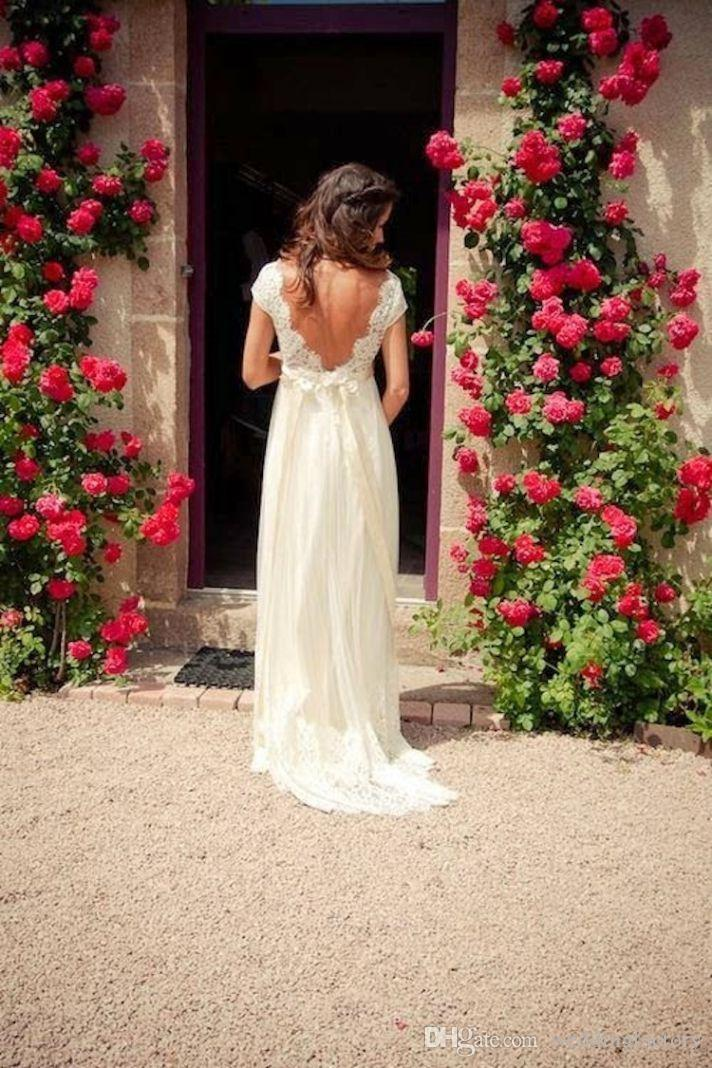 2019 Vintage Bohemian Wedding Dresses A Line Backless Sheer Lace Cap Sleeves Bridal Gowns with V Neck Beaded Sash Country Brides Sweep Train