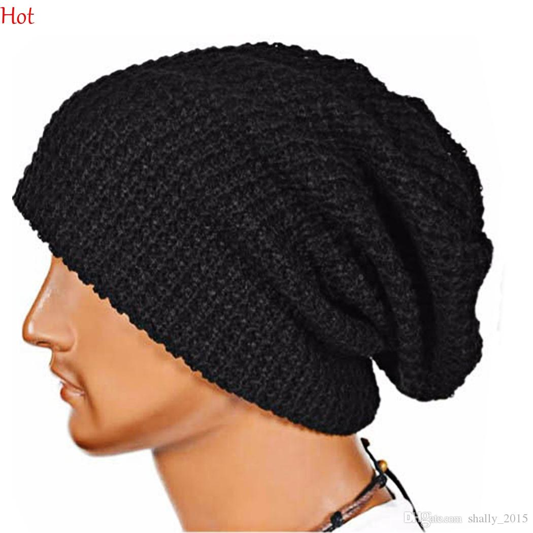 New Winter Reversible Beanie Men Womens Hats Snow Caps Knitted Hat ...