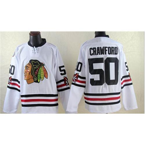 Blackhawks # 50 Corey Crawford Blanca Winter Classic Jersey de alta calidad barato Hockey Jerseys Marca Bordado Team New Jersey Hot Sportswear