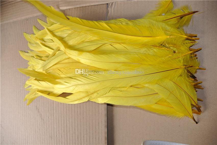 Gratis frakt grossist / parti 12-14inch 30-35cm gul rooster svans fjäder coque svans fjäder kuk svans fjäder kostym fjäder