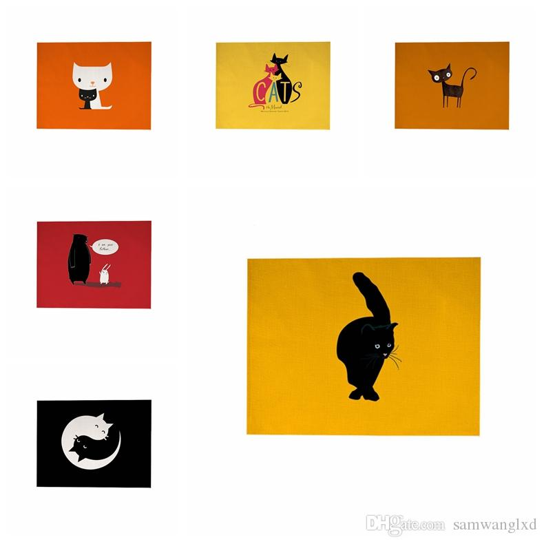 Compre 43x33 Cm Patrón De Gatos De Dibujos Animados De Algodón Lino ...