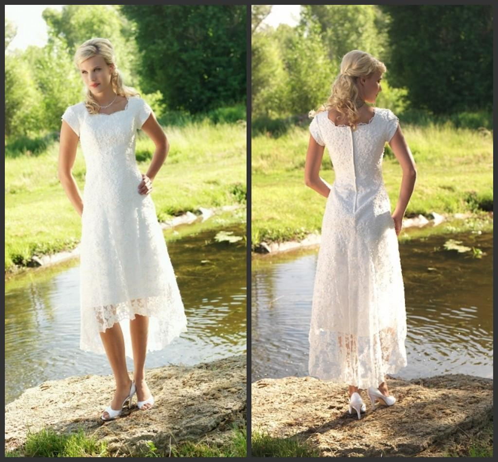 Discount Temperament 2015 Country Wedding Dresses Sleeves Square Lace Short Dress Zipper Tea Length Spring Bridal Gowns Plus Size