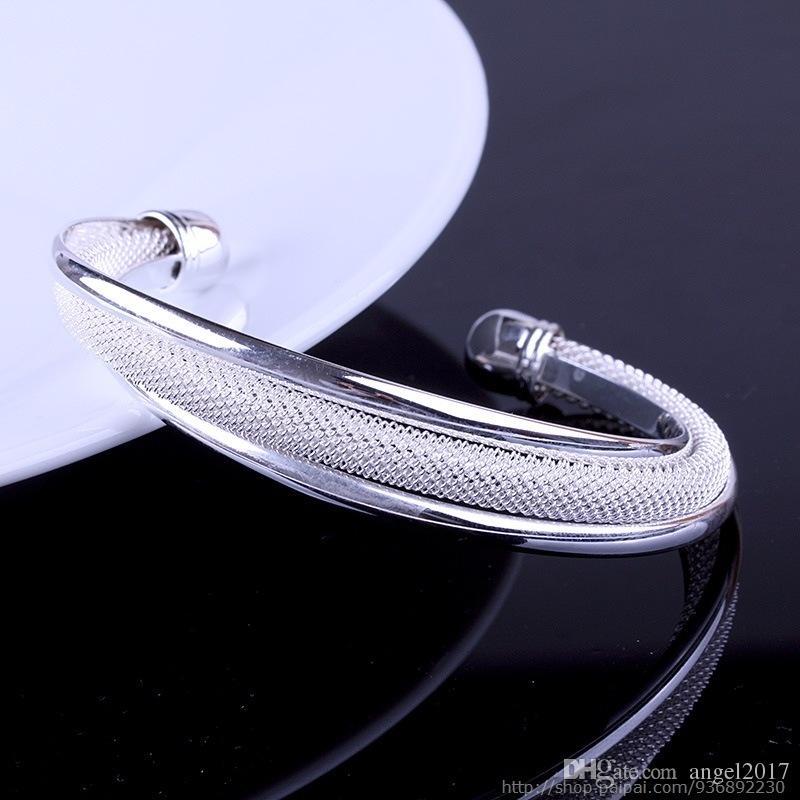 925 الفضة الإسورة مصقول / شحن مجاني هدية عيد الحب لإرسال صديقته هدية