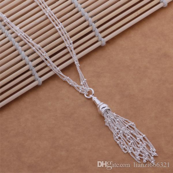 Gratis verzending met tracking nummer beste meest hot sell dames delicate geschenk sieraden 925 zilver 3 ketting kwastjes ketting