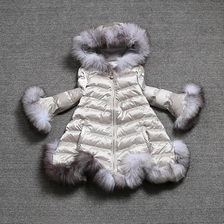 2018 Girls Winter Coat Jackets Hood Warm Duck Down Parkas Fox Fur ...