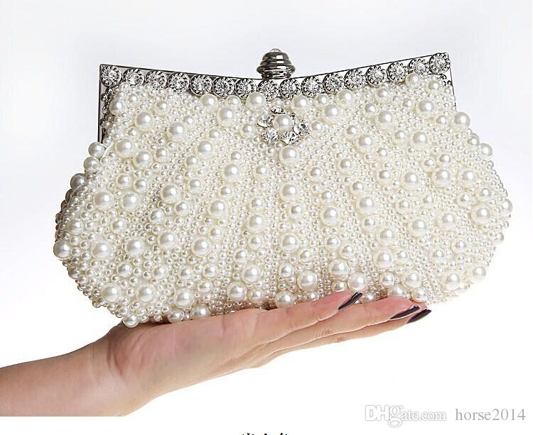 schöne Perlen Elfenbein Braut Handtasche Hochzeitstasche Champagner Perle in Damenhandtaschen Bankett Abend Party Prom Clutch Bag