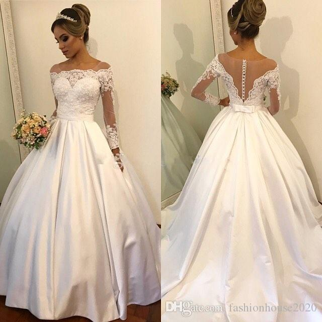 66c3483e732ae 2017 Ball Gown Wedding Dresses Off Shoulder Illusion Long Sleeves Lace  Appliques Beads Sash Open Back Court Train Satin Formal Bridal Gowns  Strapless Ball ...