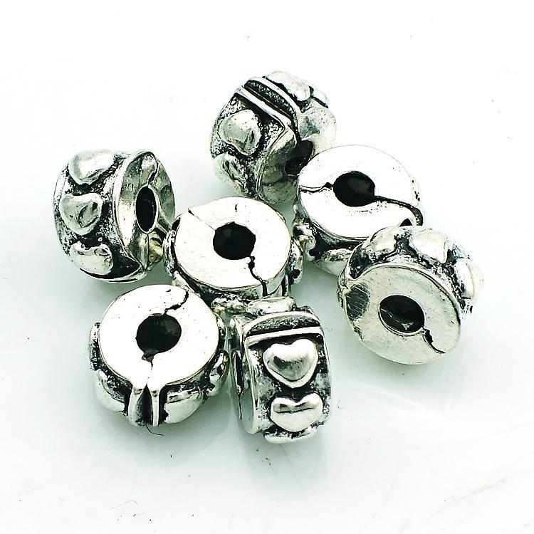 Мода металлические бусины античный посеребренные сердце Застежка свободные бусины DIY европейский бренд браслеты аксессуары ювелирные изделия