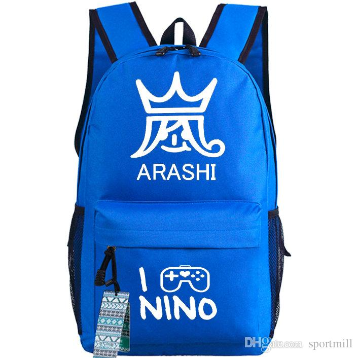 Nino Backpack Arashi School Bag Cool Music Group Daypack Quality Schoolbag  Outdoor Rucksack Sport Day Pack Arashi Backpack Arashi Rucksack Arashi Day  Pack ... b3cd692ccf