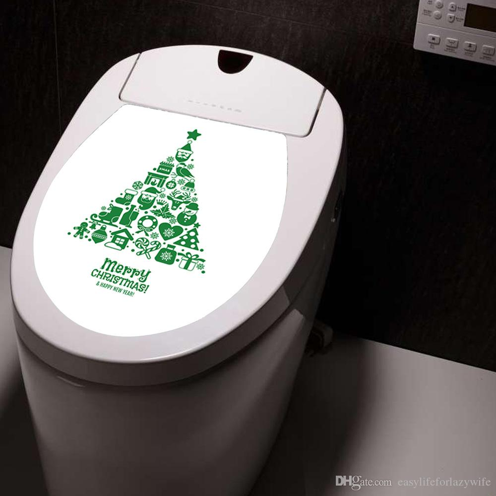 Creative Christmas toilet Europe new personalized christmas stickers paper decorative wall stickers