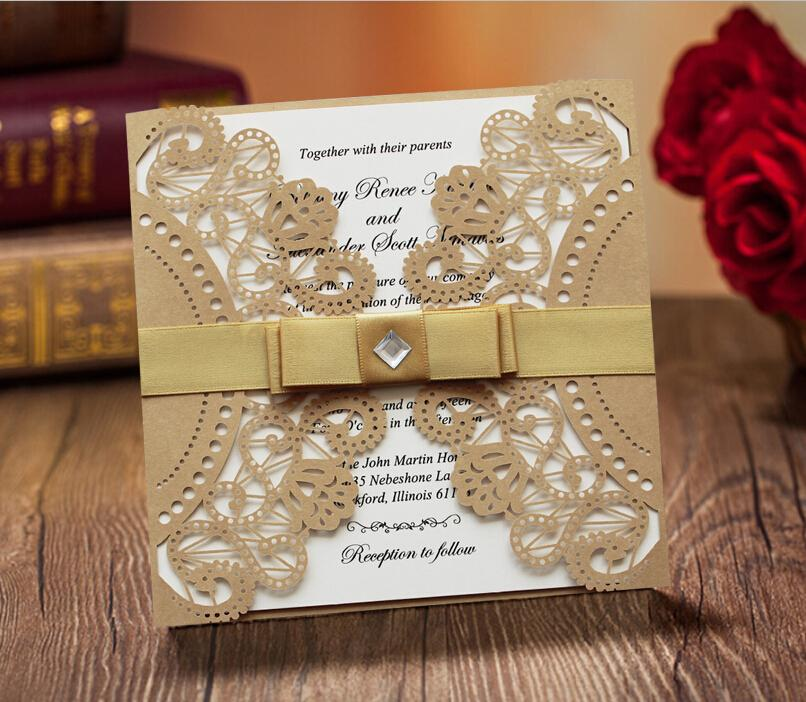 fancy golden lace wedding invitation with ribbon bow golden and white ribbon wedding invitation cards set of 50 wedding invitation envelopes wedding - Gold And White Wedding Invitations