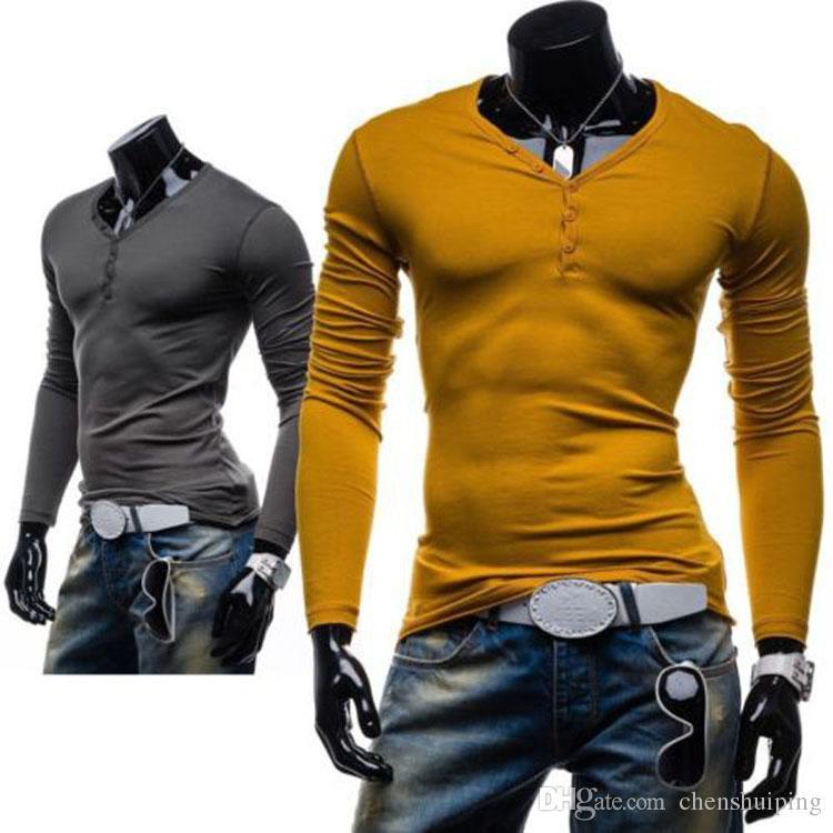 Mens Designer Casual V Neck T Shirts Tee Shirt Slim Fit Tops New ...