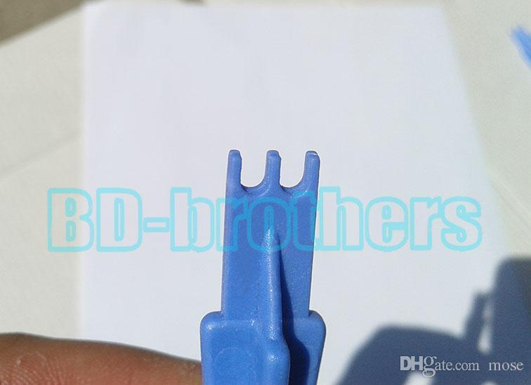 90mm Çentikli Mavi Plastik Trident Pry Aracı, Meraklı Araçları Kazayağı Açılış Araçları Açık Kabuk Onarım Aracı Cep Telefonu için Toptan 1000 adet / grup