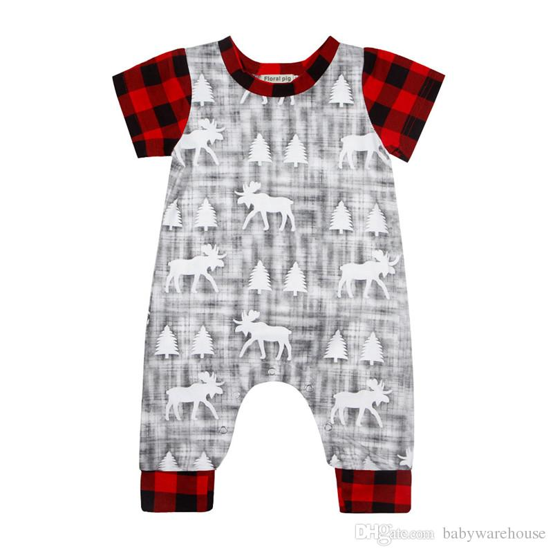 e85d8955f7f 2019 Cute Baby Christmas Clothes Newborn Baby Boy Girl Short Sleeve Plaid  Deer Printing Romper Jumpsuit Baby Cotton Outfits Kids Clothes 0 18M From  ...