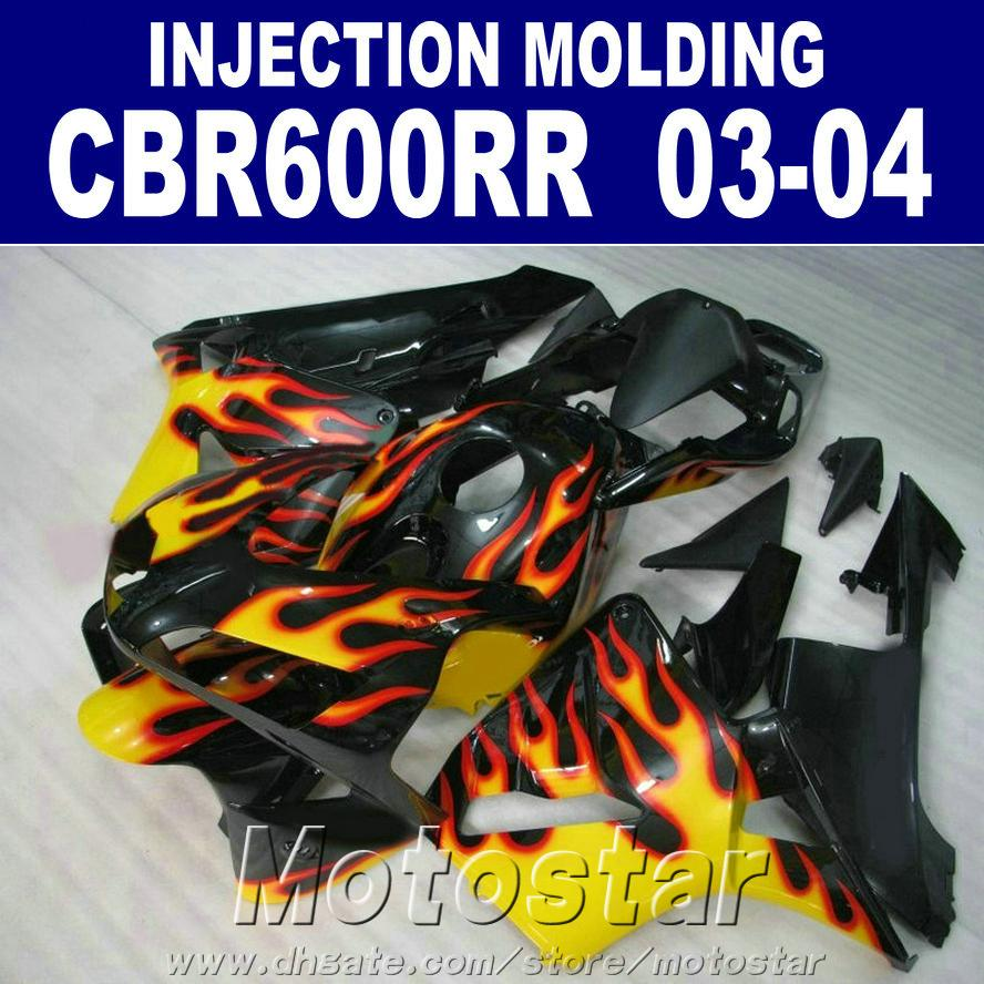 Good!Injection Molding flame set for HONDA CBR 600RR fairing 2003 2004 cbr600rr 03 04 body repair parts HXSW