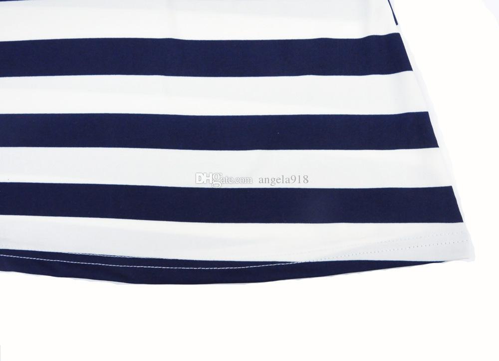 2016 vestido de familia de padres e hijos Vestido de anclaje de barco de rayas azules y blancas Vestido de madre e hija vestido de chaleco C490