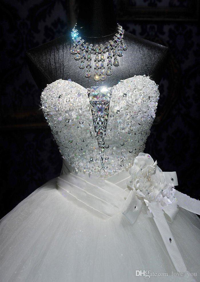 Vestidos de novia de alta calidad con foto real y cristal de Bling Volver Vendaje Tul Apliques palabra de longitud vestido de bola Vestidos de boda