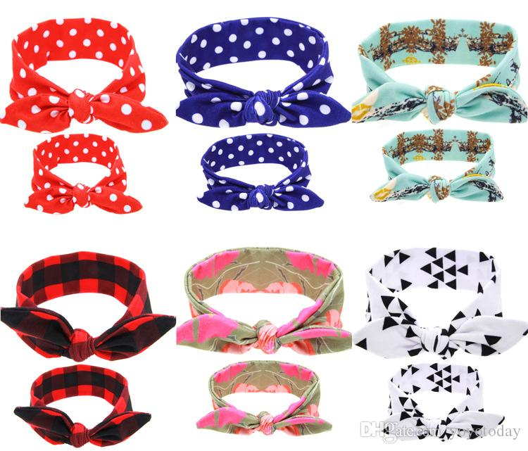 a7121778f81 DIY Mom Mother   Girl Rabbit Ears Headband Plaid Bow Hairband Turban Knot  Headwrap Hair Band Accessories Mother   Girl Rabbit Ears Headband Baby Hair  Band ...