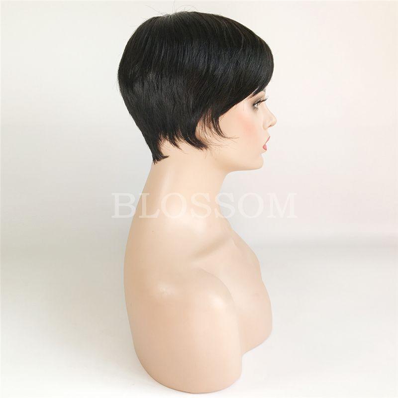Chic Pixie Cut Natural Black Short human hair Wigs Hairstyle Cheap Brazilian Virgin Remy cut Hair Wigs for Black Women