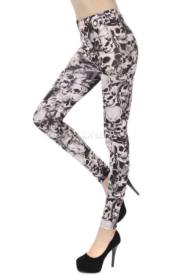 Seksi Sıska Kadın Tayt kafatası baskı Uzun Ince Streç desen Promosyon Ince Ucuz Pantolon spor Pantolon B19 CB036092