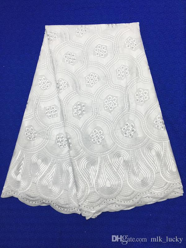 white Swiss voile Lace Fabric wedding dress Nigerian Lace Fabrics with stones cotton lace fabric for women