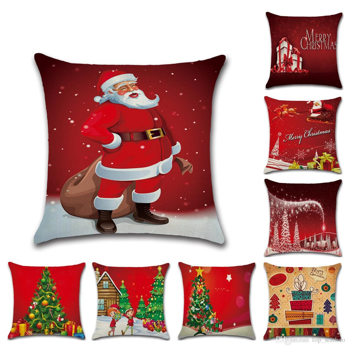 christmas pillow case xmas linen pillow cover reindeer elk throw pillow cushion covers tree decorative pillows covers 15 designs xl 400 pillow case pattern