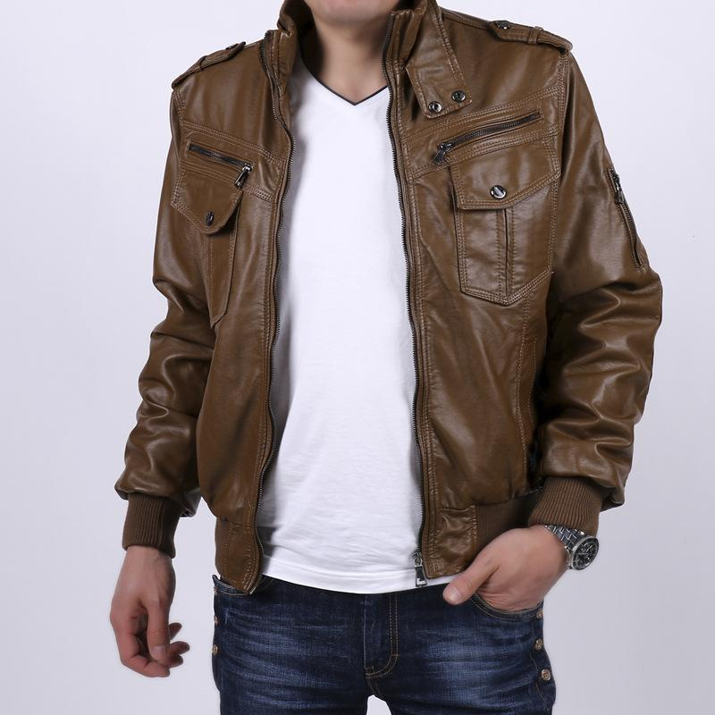 Online Cheap Brown Faux Leather Bomber Jackets Pu Coats Mens ...