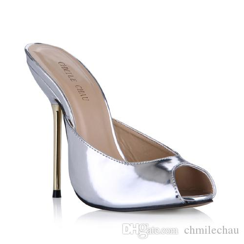 CHMILE CHAU Summer Patent Sexy Dress Party Women Shoes Stiletto Iron High  Heel Peep Toe Fashion Bridal Ladies Slide Sandals 3845 FA5 Pumps Shoes Shoe  Sale ... 865011e7a3ac