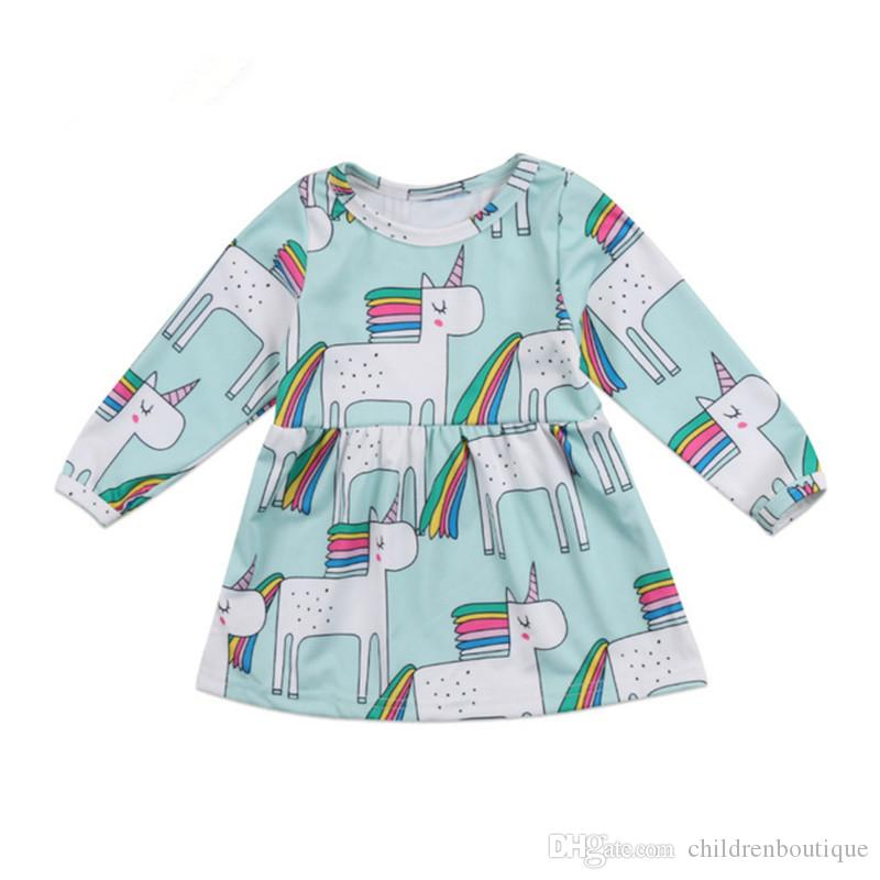2019 Fashion Baby Dress 2019 Spring Cotton Unicorn Printing Dress Toddler  Kids Baby Girls Clothes Long Sleeve Girls Dresses Cute Baby Clothing From  ... 6458c7069c80