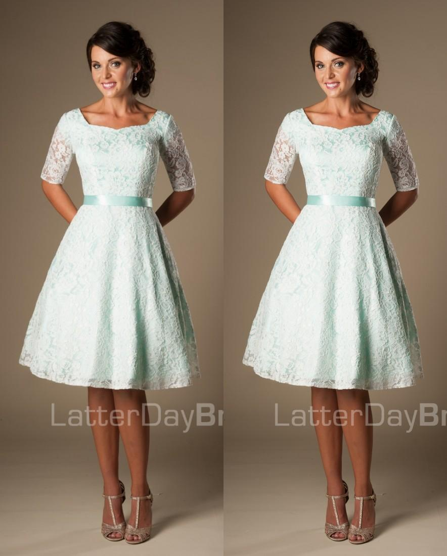Vintage mint lace knee length short modest bridesmaid dresses with see larger image ombrellifo Image collections