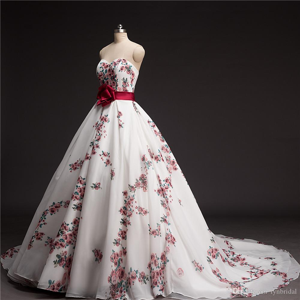 Discount 2016 floral printed wedding dress with belt corset back discount 2016 floral printed wedding dress with belt corset back ivory chiffon flower wedding gown chapel train bridal dress customized size wedding dresses ombrellifo Choice Image