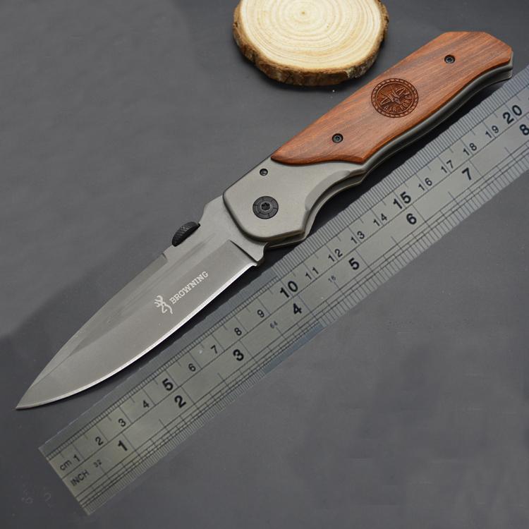 Qualität! Browning DA30 faltendes Messer-Titan-Oberfläche Holz Inlay Handgriff-Jagd Camping 330 Kampfmesser