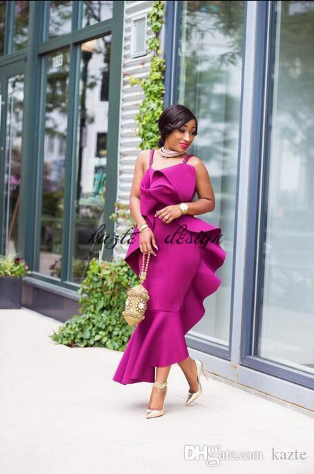Aso Ebi Style african Spaghetti Prom Dresses 2018 Fushia Satin Mermaid Evening Gowns Ruffles Plus Size Mermaid Formal Party Dress