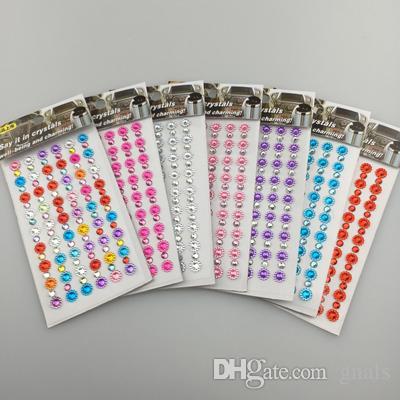 20 Pçs / lote 8mm Acrílico SunFlower Beads Pedra Auto-Adesivo Com 5mm Strass Em Tiras Para DIY Acessórios 6 Cor Para Escolher