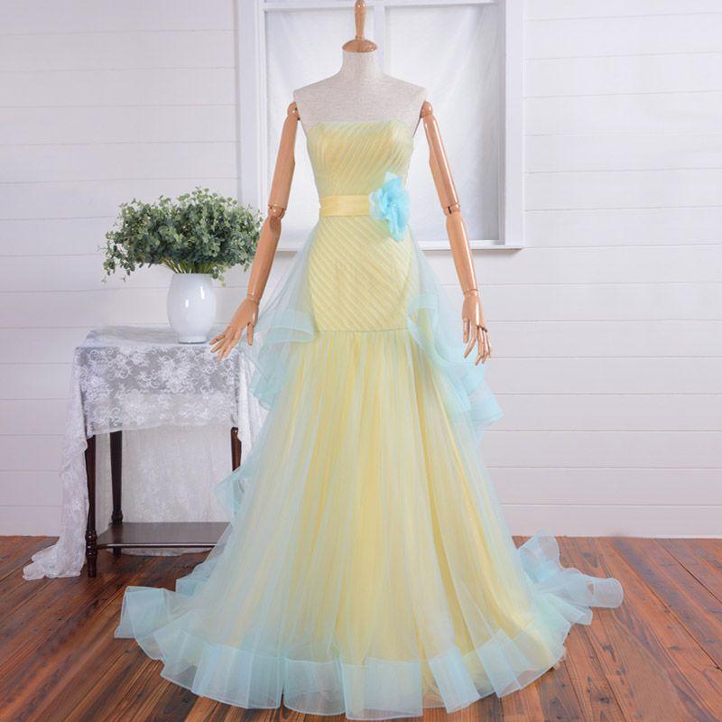 Yellow Light Blue Mermaid Wedding Dresses Strapless Chapel Train