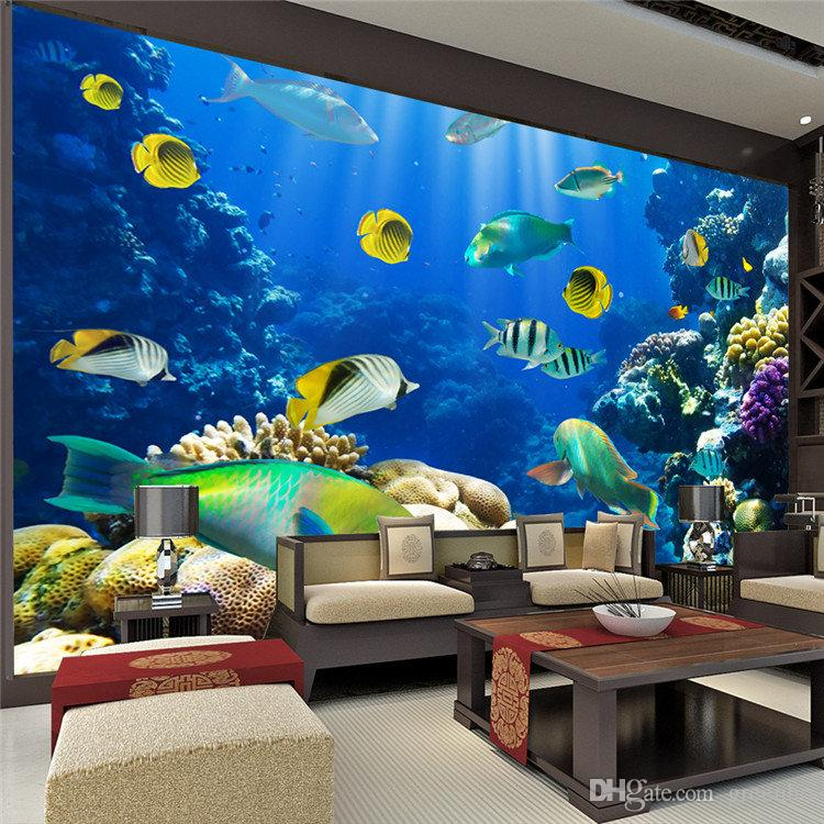 2015 cute marine fish photo wallpaper 3d custom size for Images of 3d wallpaper for bedroom