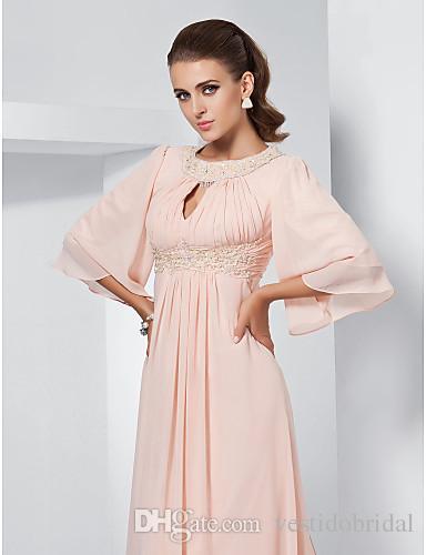 Jewel бисером длинные мать невесты Платья половина длинные рукава старинные шифон оборками Aline матери вечерняя одежда выпускного вечера вечерние платья WW