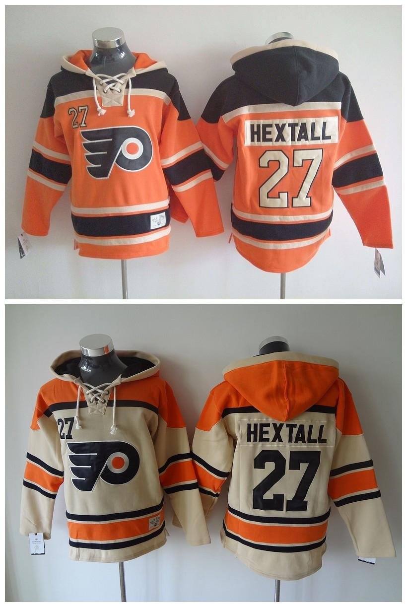 ... Philadelphia Flyers Old Time Hockey Jerseys 27 Ron Hextall Orange Cream  Hoodie Pullover Sports Sweatshirts Winter ... 24163507f