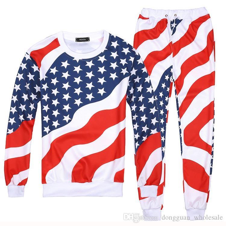 Erkekler / Kadınlar 3D Amerikan Bayrağı Baskı Spor Takım Elbise Hip Hop Emoji O-Boyun Tişörtü + Jogger Pantolon Eşofman Koşu Koşu Hoodies Set