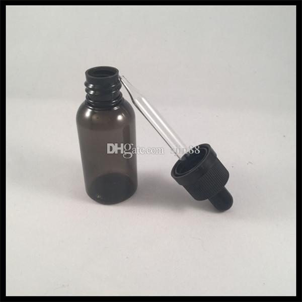 Schwarze 30ml HAUSTIER Eliquid Flasche mit Glastropfflasche und kindersicherem Kappe Ecigarette leeren Plastik E flüssige Flasche