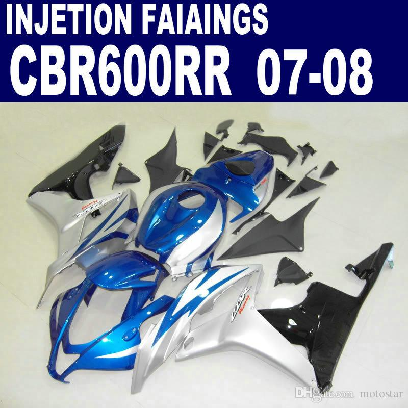Kit de carenagem de injeção de prata azul para as carenagens HONDA CBR600RR F5 2007 2008 CBR 600 RR 07 08 peças plásticas de conjunto completo