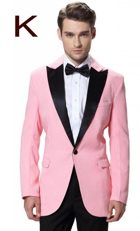 Costume 2016 Tuxedos Wedding Suit For Men Black Lapel Pink Jacket ...