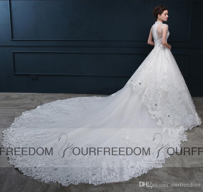 Gorgeous Chapel Train Wedding Dresses 2019 New Crystal Beaded High Collar Cap Sleeve Church Castle Bridal Gown Custom Made