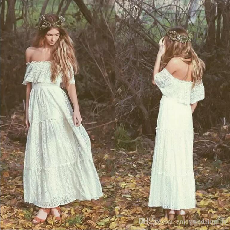 2018 Bohemian Ankle Length Ivory Full Lace Wedding Dresses Off Shoulders A Line Beach Garden Cheap Bridal Gowns Vintage Country Style